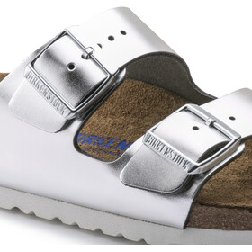 Birkenstock Arizona SFB Sandals Smooth Leather Women, metallic silver